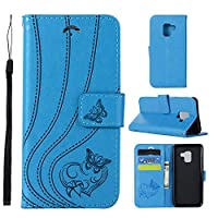 MGVV Samsung Galaxy A5 2017 Wallet Case, [Butterfly Embossing] Folio Folding Wallet Case Flip Cover Protective Case with Card Slots and Kickstand for Samsung Galaxy A5 2017 - Blue
