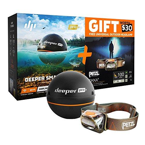 『期間限定お買い得セット品』(数量限定)【日本正規代理店品・保証付】Deeper Pro+ ワイヤレススマートGPS魚群探知機(Wi-Fi + GPS) Wireless smart sonar & ペツル ティカ 【明るさ100ルーメン 】 ヘッドランプ : E93HOU