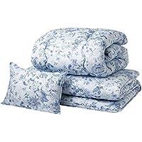 京都 西川 布団セット シングル 3点セット ( 掛布団 敷布団 枕 ) ほこりが出にくい 収納袋  ブルー 11406952