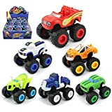 Blaze and The Monster Machine, OOOUSE Racing Toy Car Truck Pack of 6 with Blaze, Stripes, Crusher, Pickle, Zeg & Darrington Best Gift for Kids