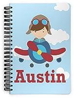 """飛行機パイロット& Spiral Boundノートブック(Personalized) Large (7"""" x 10"""") ブルー"""