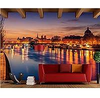 Weaeo フランスの家川ブリッジ街路の写真の壁紙のリビングルームのソファーテレビの壁のベッドルームのバー3Dの壁画-280X200CM