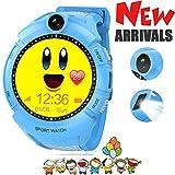 Kids GPSスマート腕時計、GPSトラッカーブレスレットwithカメラクラシックラウンドタッチ画面懐中電灯紛失防止場所SOSコール腕時計for Children S ブルー