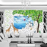 Mbwlkj カスタム壁画木3Dステレオ壁画カスタムウィンドウ屋外風景の背景壁壁画リビングルームレストランの壁紙-450cmx300cm