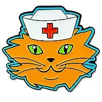 Pinmart 's Cat with Nurse 'sキャップ授乳Medicalエナメルラペルピン 25 ブラック