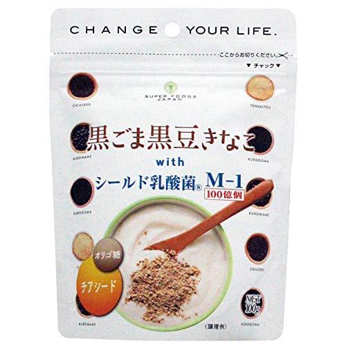 黒ごま黒豆きなこ with シールド乳酸菌M-1 100g×2袋