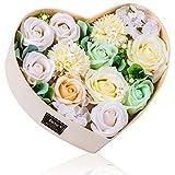 バラ型ソープフラワー ハートフラワー形状ギフトボックス 誕生日 母の日 記念日 先生の日 バレンタインデー 昇進 転居など最適としてのプレゼント (白)
