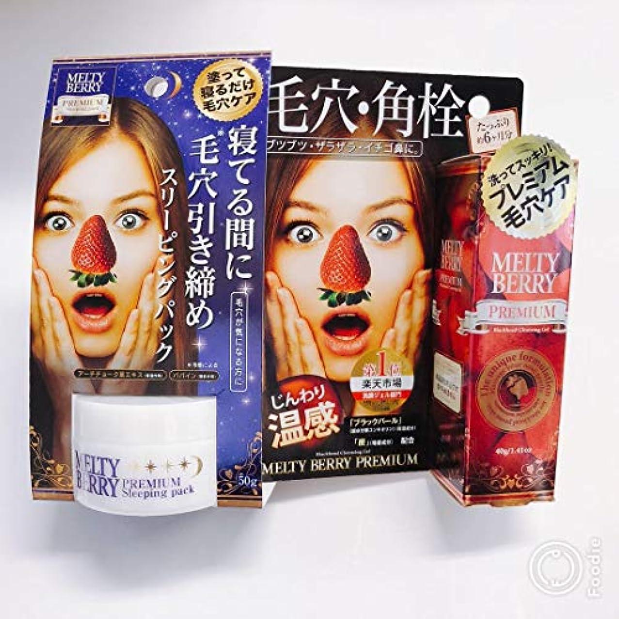 報酬の騒便利メルティベリープレミアム毛穴角栓ジェル+プレミアム スリーピングパック セットMELTY BERRY草莓鼻