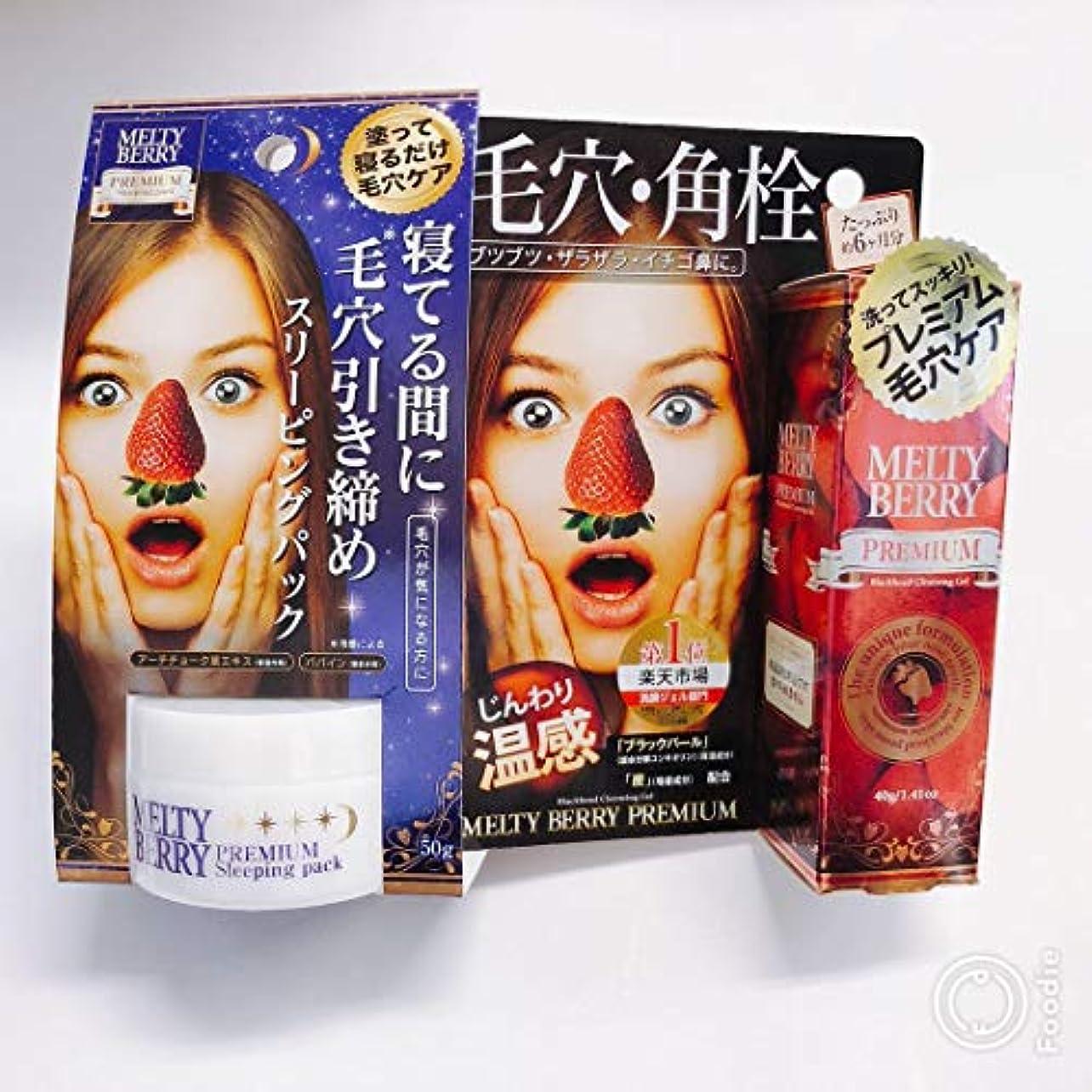 恐ろしいですどれギャザーメルティベリープレミアム毛穴角栓ジェル+プレミアム スリーピングパック セットMELTY BERRY草莓鼻