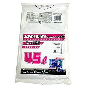日本技研工業 メガバッグス ゴミ袋 半透明 45L 厚み0.011mm 薄くても丈夫 省資源 〔ケース販売〕 ME45EH 50枚入 30個セット