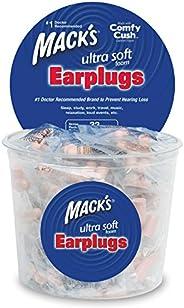 Mack's Ultra Soft Foam Earplugs, 100 Pair - Individually Wrapped - 32dB Highest NRR, Comfortable Ear Plugs