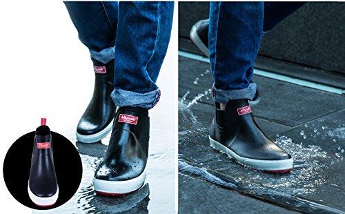 ショートレインブーツ 雨靴 防水 ブラック メンズ レディース 梅雨対策 ビジネス (26.0cm)