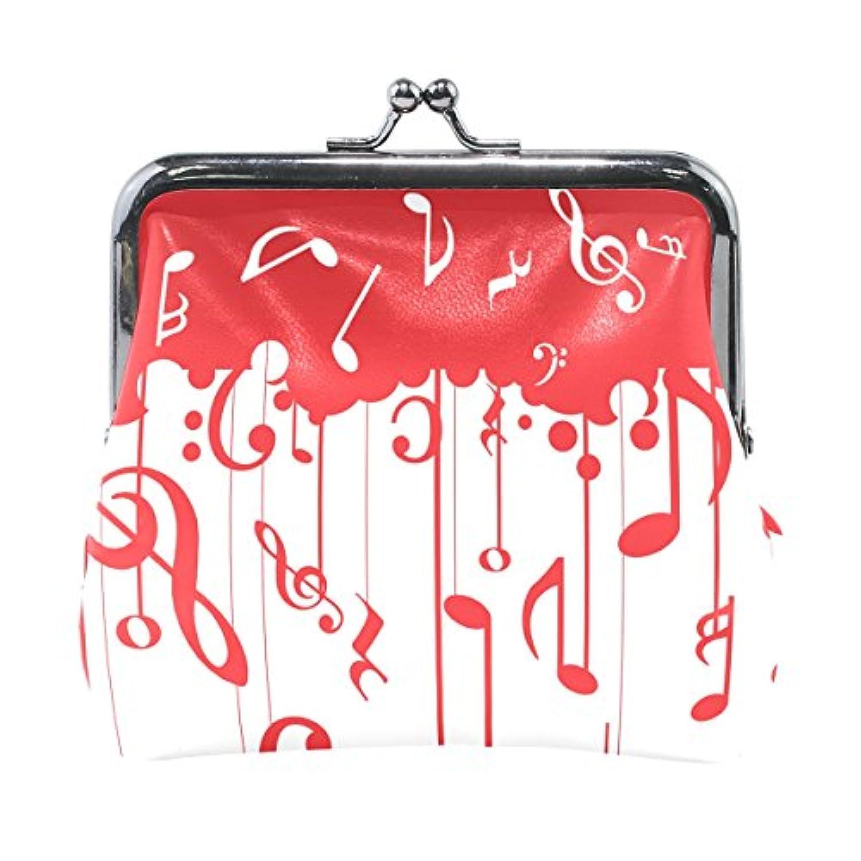 バララ(La Rose) 財布 がま口 小銭入れ レディース ブランド 和柄 かわいい PU 革 レザー 赤い レツド 音符 絵柄 学生 ミニポーチ 財布 ポーチ 小物入れ コイン 鍵 カード収納 約幅11.5cmx10.5cm