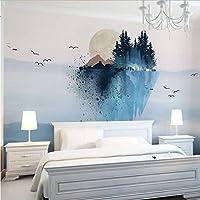 Wuyyii 中国の手の絵の壁紙の居間の寝室の壁の家の装飾の壁の壁画のための注文の大きい3D性質の壁紙-350X250Cm