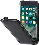 StilGut UltraSlim 本革 カバー Apple iPhone8 薄型 縦開き マグネット無し レザーケース ブラック ナッパレザー