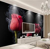 Minyose カスタム壁紙家の装飾的な背景フレスコ画ロマンチックな煙赤いバラテレビの背景壁の壁画写真3Dの壁紙-140cmx100cm