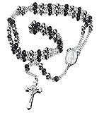30インチ ステンレススチール ロザリオ ビーズネックレス イエスキリスト 十字架付き シルバー