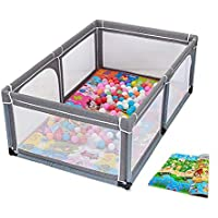 赤ちゃんゲームフェンス、クロールマットと100のボール、屋内遊び場安全保護フェンス (色 : Gray)