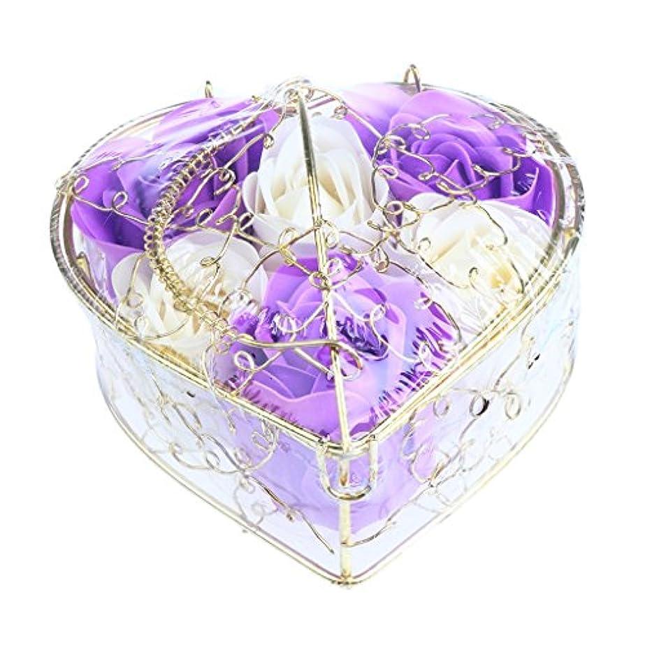 飾り羽永遠の靄Baoblaze 6個 石鹸の花 母の日 プレゼント 石鹸 お花 枯れないお花 心の形 ギフトボックス プレゼント 全5仕様選べる - 紫と白