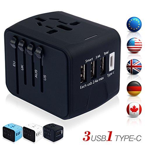 海外旅行充電器 変換アダプタ マルチ変換プラグ 充電用USBポートType-...