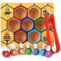 Leegoal 蜂 ピッキングトイ 木製 楽しい 蜂 キャッチング練習玩具 早期子供教育玩具 知的発達 識別 カラー 親子の交流用