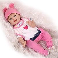 NPKDOLL リボーンベビードールソフトシミュレーションシリコーンビニール22インチの55センチメートル磁気口リアルなかわいい子供のおもちゃスマイルアクリル目でピンクのケーキ Reborn Baby Doll A1JP