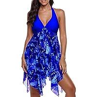 Ausexy Women Print Swimwear Dress Tankini Asymmetric Hem Halter Swimdress with Panty Beachwear