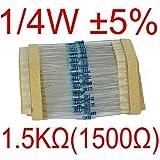 【UMKTOKYO】カーボン抵抗1/4W 1.5kΩ誤差±5% 炭素皮膜抵抗 0.25W  1500Ω(100本入)