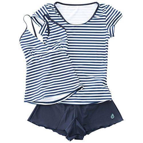 【Sandiaサンディア】ジュニア水着女の子セパレートラッシュTシャツ付き ボーダー160ネイビー