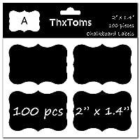 ThxToms 100個黒板ラベルステッカー、high-class防水とRewritable Jarsフォルダ分類の Small A - 100Pcs