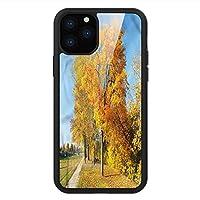iPhone 11 Pro Max 用 強化ガラスケース クリア 薄型 耐衝撃 黒 カバーケース 秋 カエデの木の田舎 iPhone 11 Pro 2019用 iPhone11ケース用