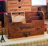 ビンテージ風 ナチュラルな 木製 引出し付き 小さめ マガジンラック オシャレ雑貨