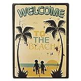 """ブリキ看板 アンティークエンボスプレート[レクト""""Welcome to the Beach""""]"""