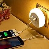 LEDナイトライト コンセント差込口付き 明暗センサー 足元灯 三つのモード LEDライト USBポート付いたナイトライト 光センサー..
