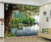 美しいロマンチックなヨーロッパスタイルの柔らかい風景3D 100%ポリエステル遮光ホームホテルCurtian、リビングルーム用窓カーテン,D,W360*H269cm