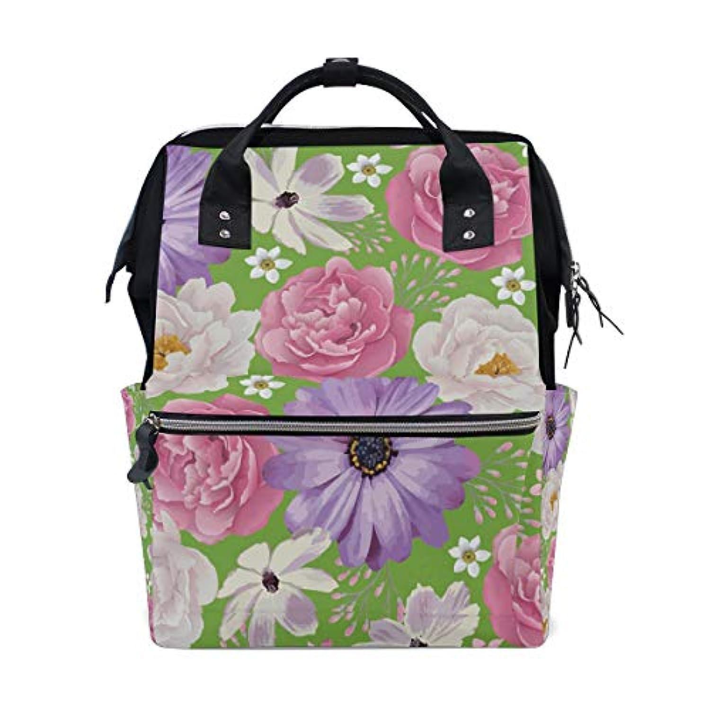 ママバッグ マザーズバッグ リュックサック ハンドバッグ 旅行用 白色 紫花 緑 ファション