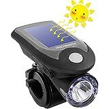 自転車 ライト ソーラー 自転車 LEDライト ヘッドライト USB充電式 ソーラー充電 4モード搭載 ハイモード/ローモード/ストロボモード/SOSモード 高輝度240LM ライトホルダー付き 取り付け簡単 台座改良型