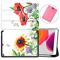 """MAITTAO New iPad 7th Generation 10.2"""" Case 2019 with Apple Pencil Holder, Shockproof Soft TPU Back Cover with Auto Sleep/Wake, Trifold Stand Smart Case Fit iPad 10.2 inch,Flowers & Leafs 26"""