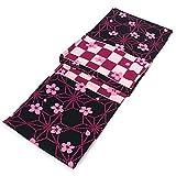 レディース 浴衣 単品 有村架純 黒地に桜と麻の葉と市松 フリーサイズ 変わり織