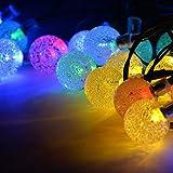 ソーラーLEDイルミネーションライト バブル型 7m 30球 クリスマス 新年 誕生日 パーティ 装飾 マルチカラー