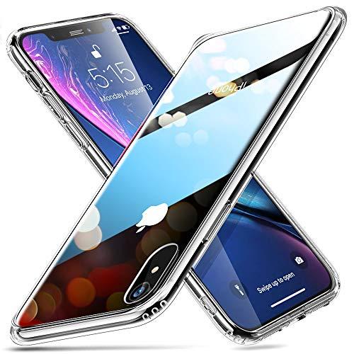 ESR iPhone XR ケース 6.1インチ 強化ガラス 9H硬度加工 ガラスケース 薄型 全透明 TPUバンパー 滑り止め ...