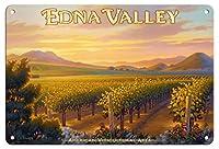 22cm x 30cmヴィンテージハワイアンティンサイン - エドナ・バレー・ワイナリー - セントラルコーストAVAブドウ園 - カリフォルニアワインカントリーアート によって作成された カーン・エリクソン