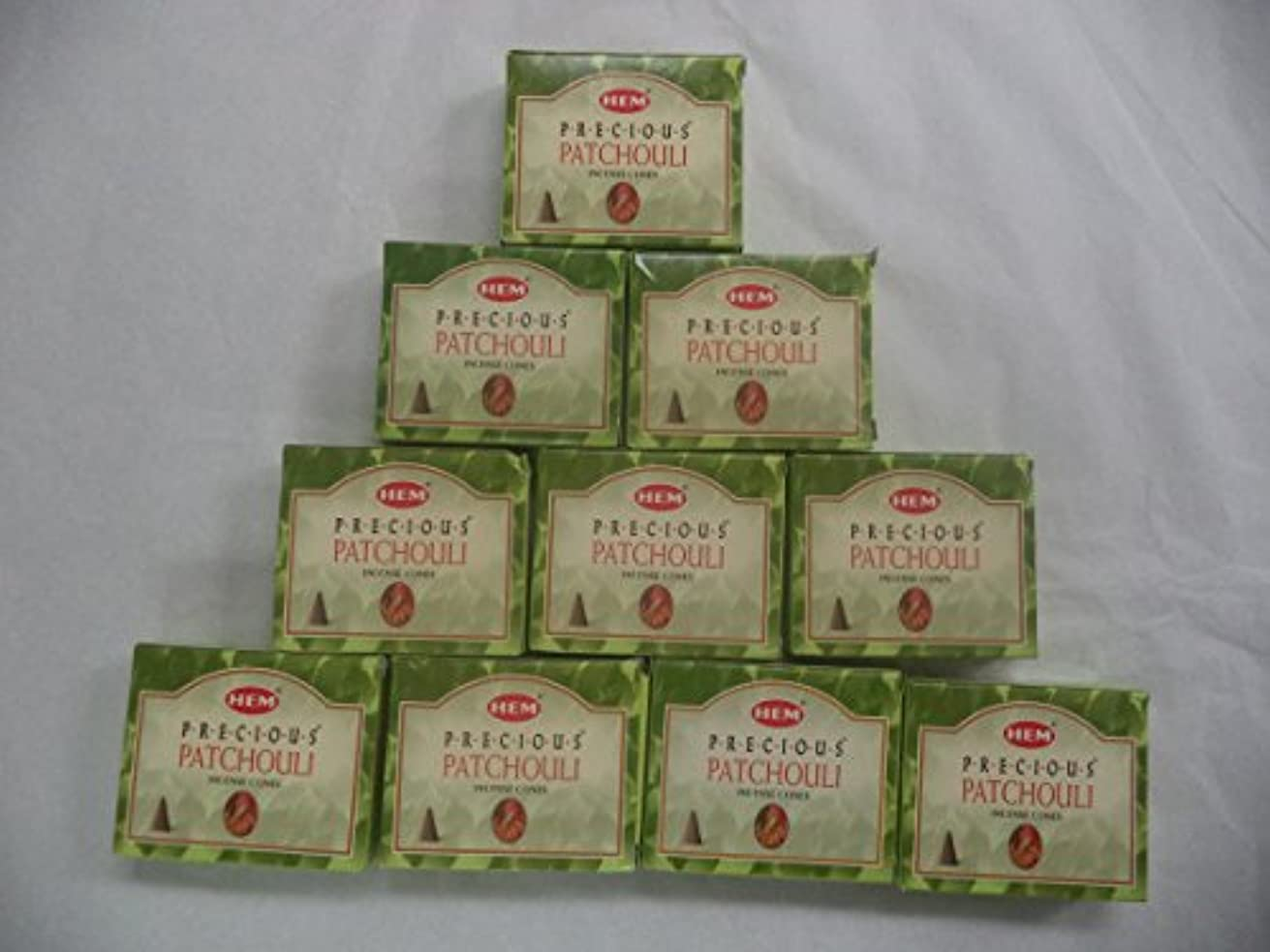 ひまわり杖海上HEM Incense Cones: Precious Patchouli - 10 Packs of 10 = 100 Cones by Hem