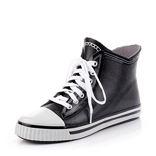 (Wansi) メンズ ショート レイン ブーツ シューズ レインブーツ 雨靴 長靴 長ぐつ 梅雨対策 滑り止め レインシューズ レイングッズ ビジネス アウトドア おしゃれ 雨靴 (25CM-25.5CM, ブラック)