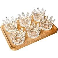 lolpiクリスタルガラス灰皿、ミニクラウンガラス工芸Candlestick灰皿、灰皿、として使用でき装飾またはを送信するギフトとしてFriends (セットof 6 )