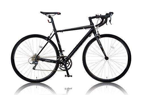カノーバー ロードバイク 700C シマノ16段変速 CAR-011(ZENOS) 軽量クランク アルミフレーム フロントLEDライト付 ブラック