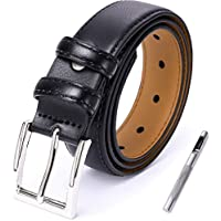 Mens Leather Belt Adjustable with Classic White Silver Pin Buckle(5 Sizes 4 Colors,219)