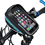 MOREZONE フレームバッグ 5.5インチ自転車スマホホルダー フロントバッグ iphone 6S Pls/6s/5s対応 スマートフォンサドルバッグ収納アクセサリー 青