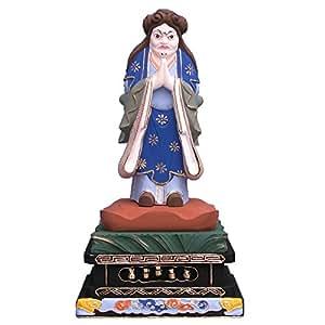 木彫仏像 鬼子母神 鬼形像 立像 四角台 5.0寸 ツゲ彩色
