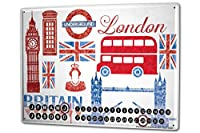カレンダー Perpetual Calendar Wanderlust City London England Tin Metal Magnetic